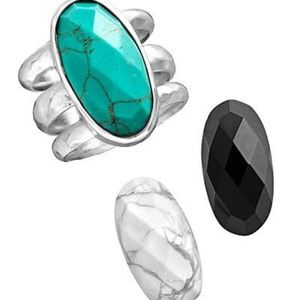 Silpada modern ring with interchangable stones